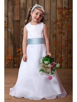 A Line Scoop Ankle Length Sash Flower Girl Dress