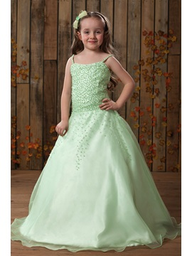 Beautiful A Line Spaghetti Straps Floor Length Flower Girl Dress