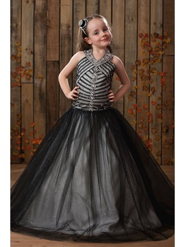 Ball Gown Halter Floor Length Beaded A Line Flower Girl Dress