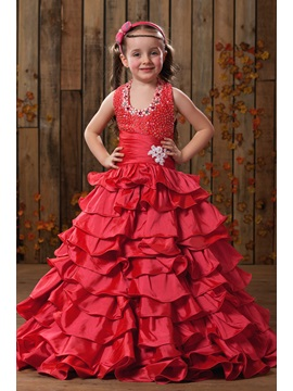 Fadish A Line Halter Floor Length Tiered Beaded Flower Girl Dress
