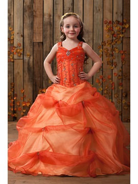 Amazing Straps Ball Gown Floor Length Beading Ruched Flower Girl Dress