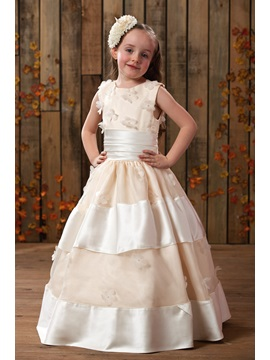 Ball Gown Scoop Floor Length Appliques Flower Girl Dress