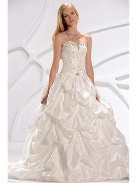 New Style Ball Gown Sweetheart Corset Pick Up Wedding Dress