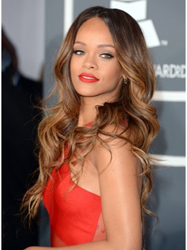 100 Human Hair Rihanna Grammy Hairstyle Sexy And Beautiful Lace Front Wig 22 Inches Wave