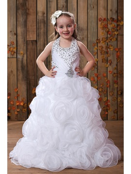 Pretty A Line Floor Length Flowers Halter Embellishing Flower Girl Dress