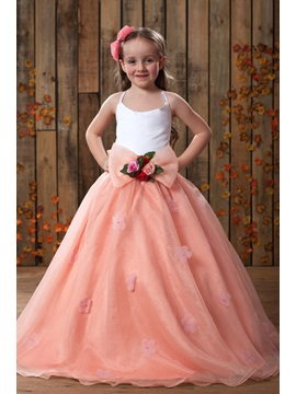 Popular A Line Floor Length Spaghetti Straps Flower Girl Dress