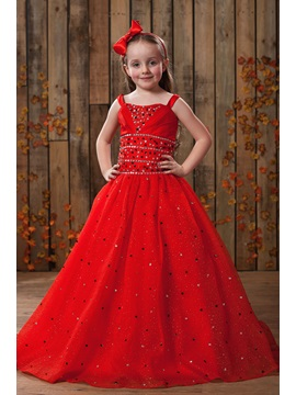 Ball Gown Floor Length Square Neckline Sequins Flower Girl Dress
