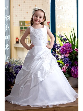 Pretty A Line Round Neck Floor Length Satin Flower Girls Dress