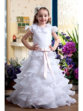 Cute A Line V Neck Ankle Length Capped Sleeve Tiered Flower Girl Dress
