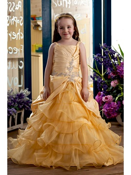 Ball Gown Square Floor Length Tiered Flower Girl Dress