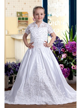 A Line V Neck Chapel Train Flower Girls Dress 2013 Style