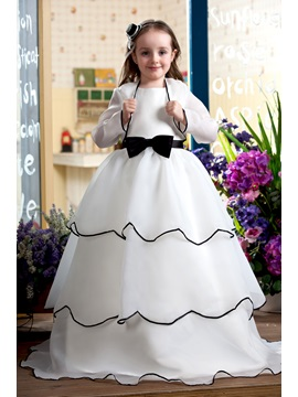 Elegant A Line Sash And Bow Floor Length Flower Girl Dress With Jacket Shawl