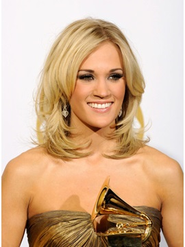 Custom Carrie Underwood Hairstyle Remy Human Hair Lace Front Wig About 14 Inches