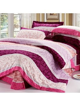 Ashna Elegant Design Style Shadow Of Flower Stripe Cotton 4 Piece Full Queen King Size Duvet Cover Reactive Print