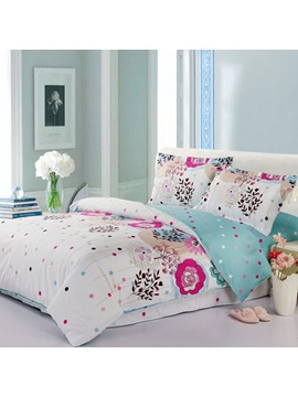 Flower White Color Cotton Full Queen King Duvet Cover
