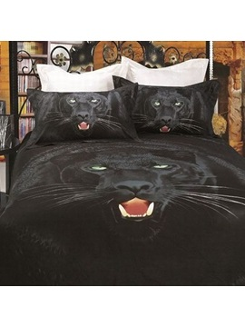 3d Painting Black Leopard Cotton 4 Piece Queen Size Duvet Covers