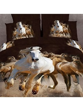 3d Painting Running Horse Cotton 4 Piece Queen Size Duvet Covers