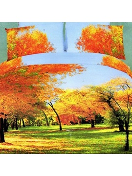 3d Painting Autumn Fallen Leaf Cotton 4 Piece Queen Size Duvet Covers
