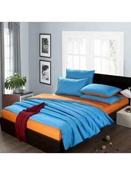 Two Color Blue And Orange Solid Cotton 4 Piece Queen King Size Duvet Covers