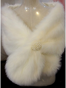 Attractive Plush Pearls Ball Ear Style Ladys Faux Fur Wedding Evening Shawl