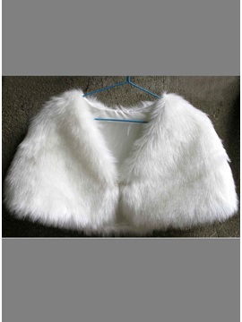 Elegant Plush Ladys Faux Fur Wedding Evening Shawl With Alloy Clasp