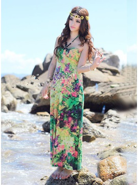 Stylish Bohemian Strapless Floral Imprint Maxi Dress
