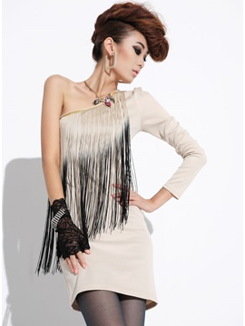 New Korean Style One Shoulder Tassels Embellished Sheath Dress