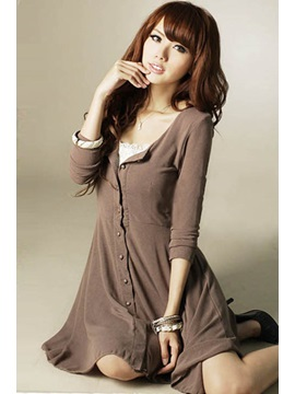 Pretty Round Neckline Comfortable Day Dress