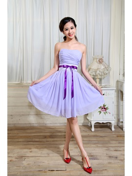 Hot Sell Strapless Ruched A Line Sleeveless Knee Length Bridesmaid Dress