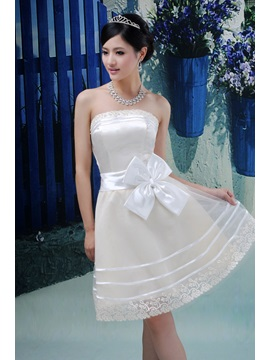 Charming A Line Strapless Knee Length Bridesmaid Dress