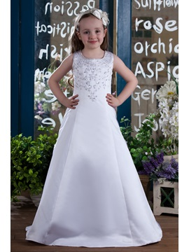 A Line Round Neck Floor Length Flower Girls Dress