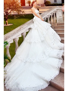 Glamorous A Line Floor Length Beading Bowknot Sweetheart Cathedral Train Wedding Dress