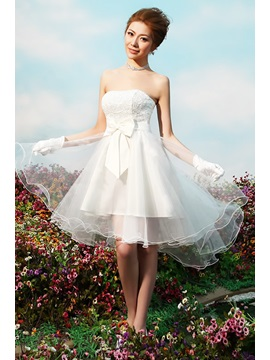 Strapless Bowknot A Line Mini Reception Wedding Dress