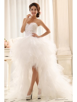 Elegant Asymmetrical Sweetheart Lace Up Court Train Paillette Wedding Dress