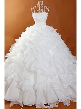 Gorgeous Strapless Beaded Floor Length White Ball Gown Wedding Dress