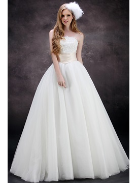 Cute Strapless Empire A Line Floor Length Plus Size Wedding Dress
