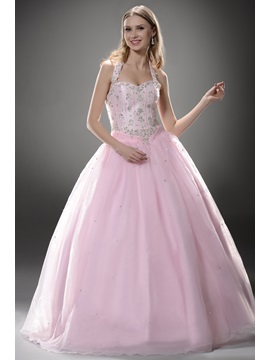 Luxurious Halter Appliques Lace Up Floor Length Ball Gown Quinceanera Dress