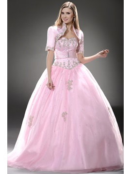Glamorous Sweetheart Appliques Lace Up Floor Length Ball Gown Quinceanera Dress With Jacket Shawl