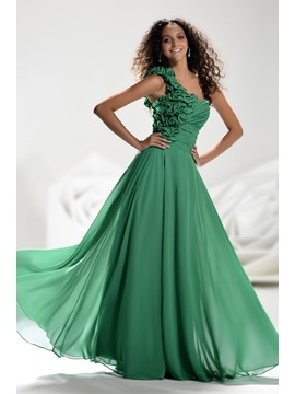 Glamorous One Shoulder Flowers Beading Floor Length Ruched A Line Prom Dress