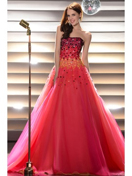 Glimmering Beading Sequins Floor Length Strapless Lace Up Quinceanera Dress
