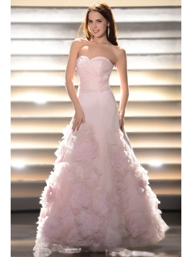 A Line Sweetheart Floor Length Flowers Prom Quinceanera Dress