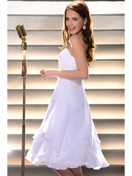 Charming White A Line Strapless Knee Length Pleats Homecoming Dress