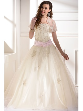 Gorgeous A Line Strapless Floor Length Appliques Sequins Bowknot Quinceanera Dress With Jacket Shawl