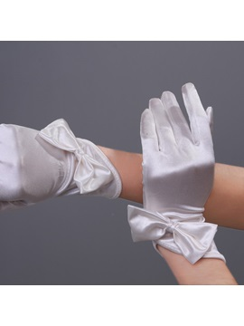 Red Short Wedding Gloves With Bowknot