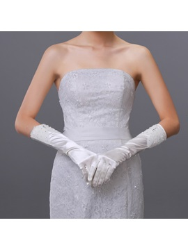 Beautiful Half Length Rhinestone Bridal Gloves