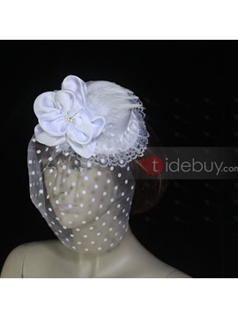 Cute White Net With Feather Wedding Bridal Hats
