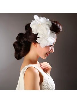 Elegant White Feather Wedding Bridal Hats