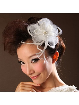 White Lace With Feather Wedding Bridal Hats
