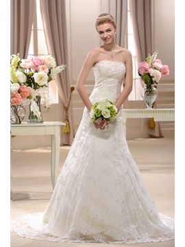Pretty A Line Chapel Strapless Floor Length Appliques Wedding Dress