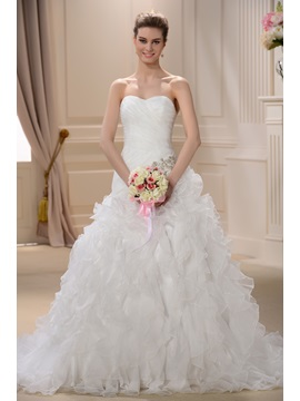 Pretty Sheath Column Sleeveless Sweetheart Floor Length Chapel Ruffles Wedding Dress